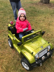 Gracie got her first set of wheels. Which also came with a remote for mom and dad. Loud Bluetooth stereo and a popping green color. Thanks Grandma!
