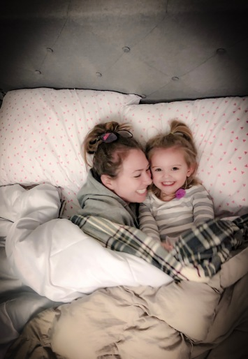 Dad snapped this shot of me and Gracie enjoying the new electric blanket on her bed. Oh, of course snuggling and giggling while we do it. <3